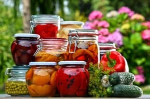 Canned fruits and vegetables.