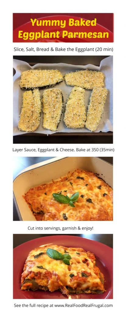 Quick steps for the baked eggplant parm recipe with photos