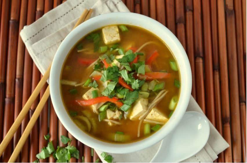bowl of asian noodle soup