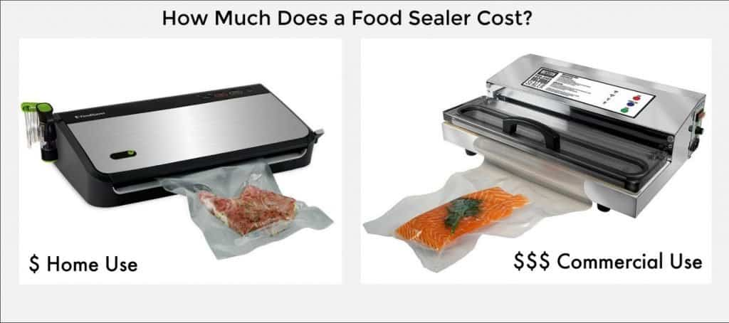 Side by Side photos of a home and commercial food sealers with title How much do they cost