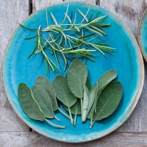 fresh sage and rosemary