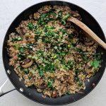 Add spinach to asian mushroom rice recipe