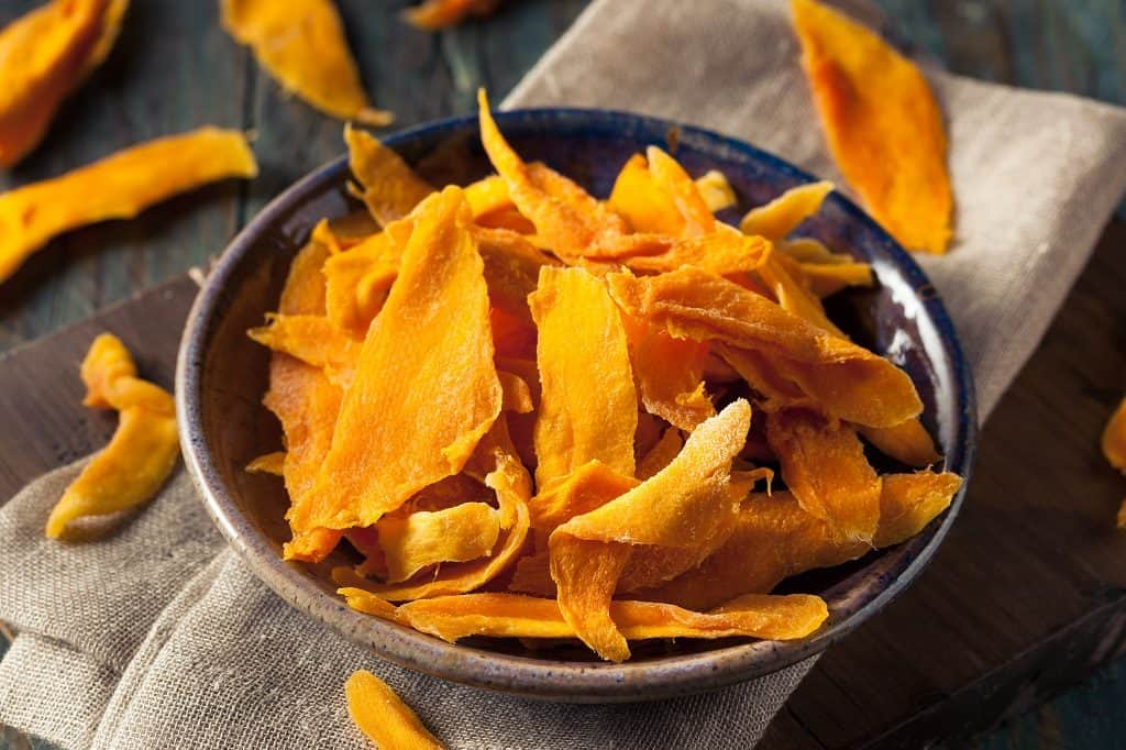 dried mangos in a bowl