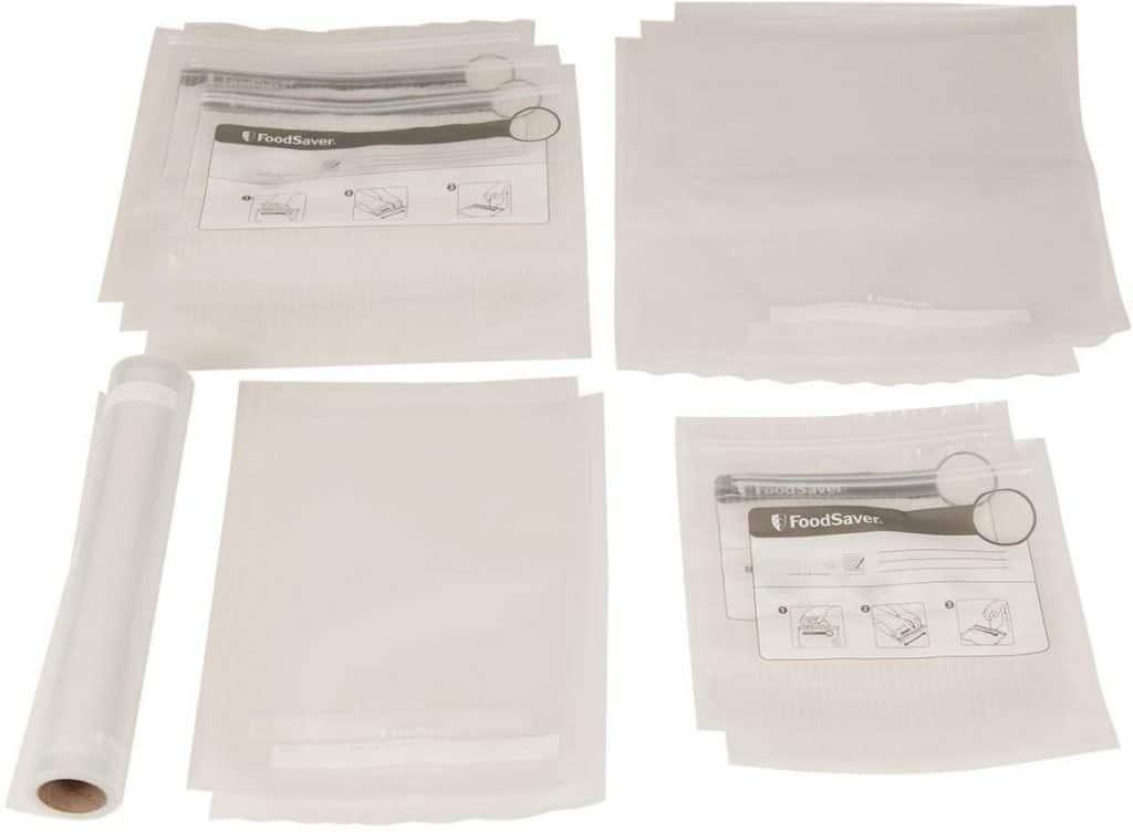 A variety of FoodSaver's vacuum zipper and roll bags
