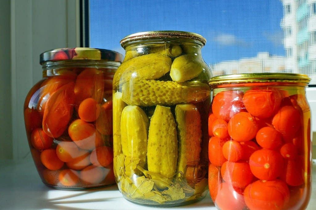canned pickles and tomatoes