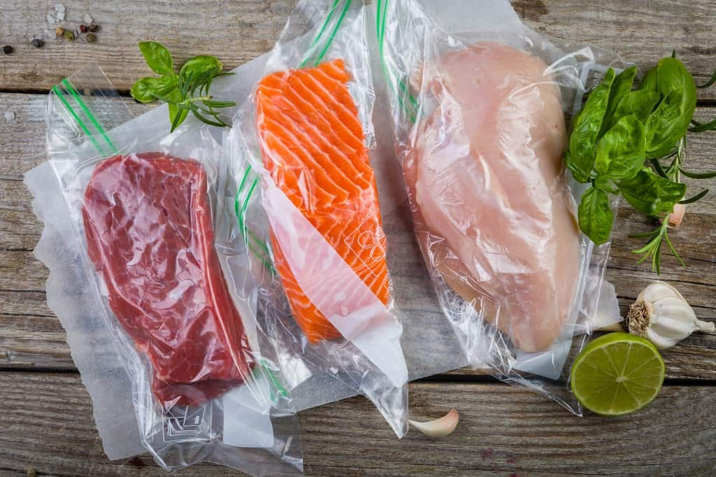 beef salmon and chicken in vacuum sealed freezer bags
