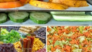collage of three examples of fruit and vegetables using dehydrator sheets